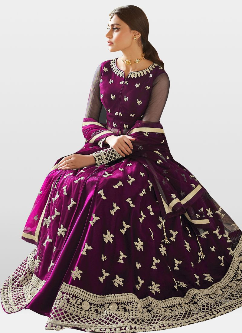 Gleaming Party Wear Purple Color Heavy Anarkali Suit