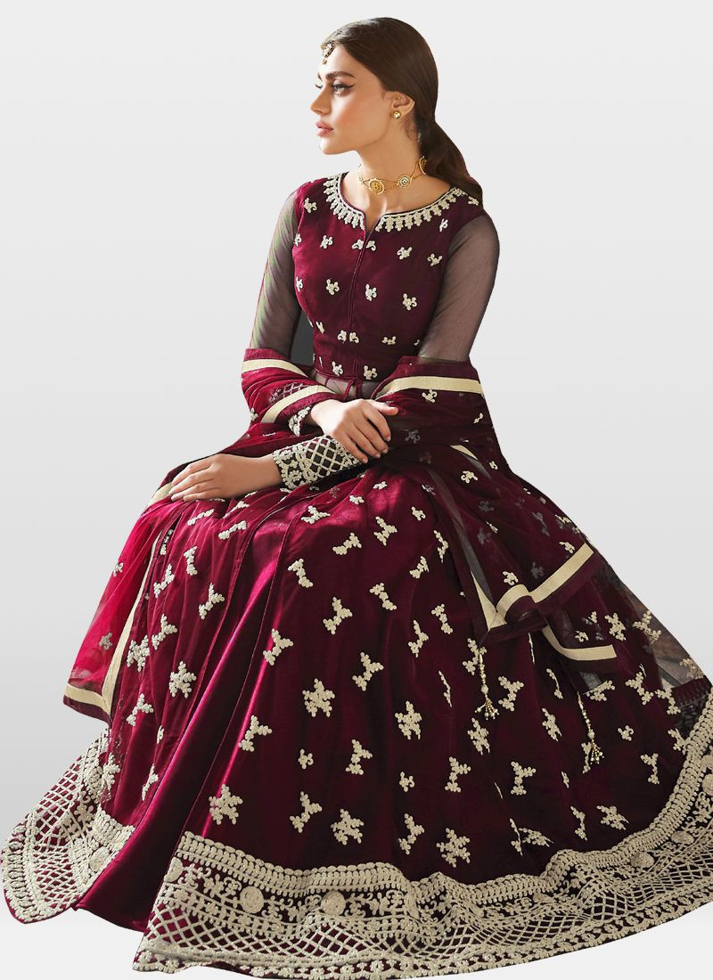 Maroon Color Embroidered Anarkali Suit