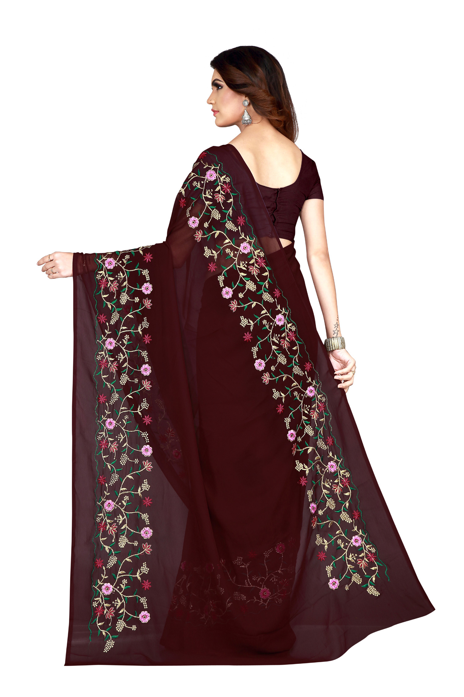 Preferable Wine Color Designer Saree