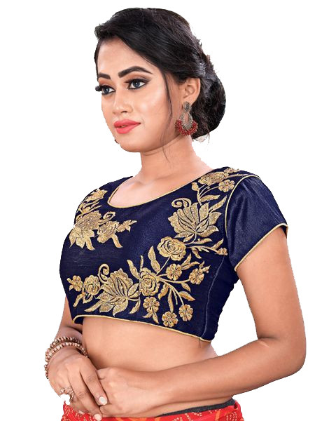 Designer Navy Blue Color Embroidery  Round Neck Party Wear Blouse