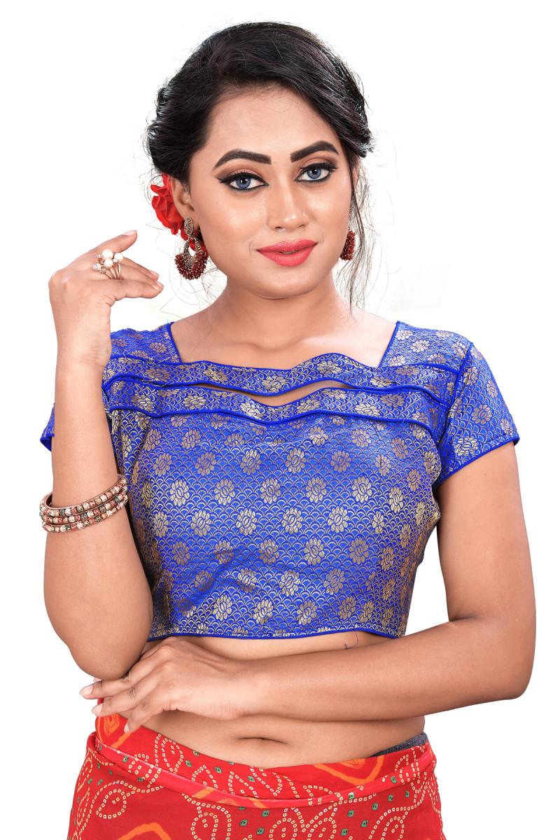 Jacquard Blue Color Women's Party Wear Blouse