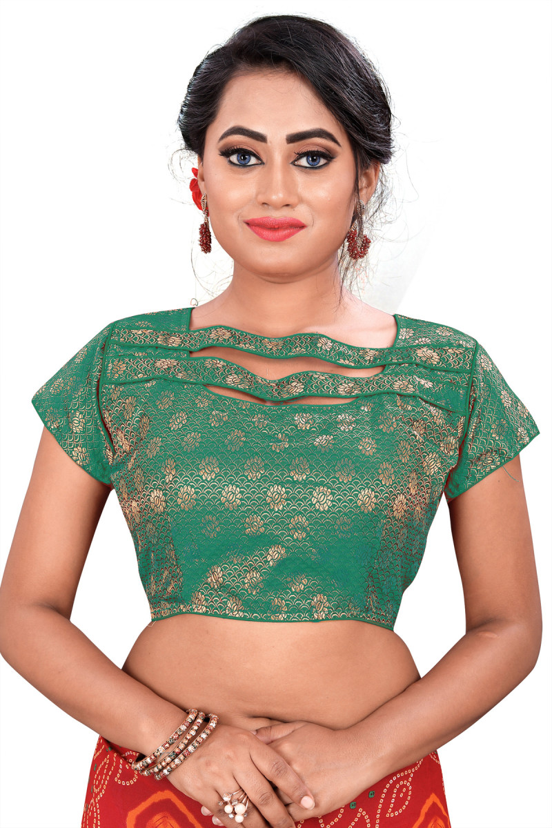 Jacquard Green  Color Women's Party Wear Blouse