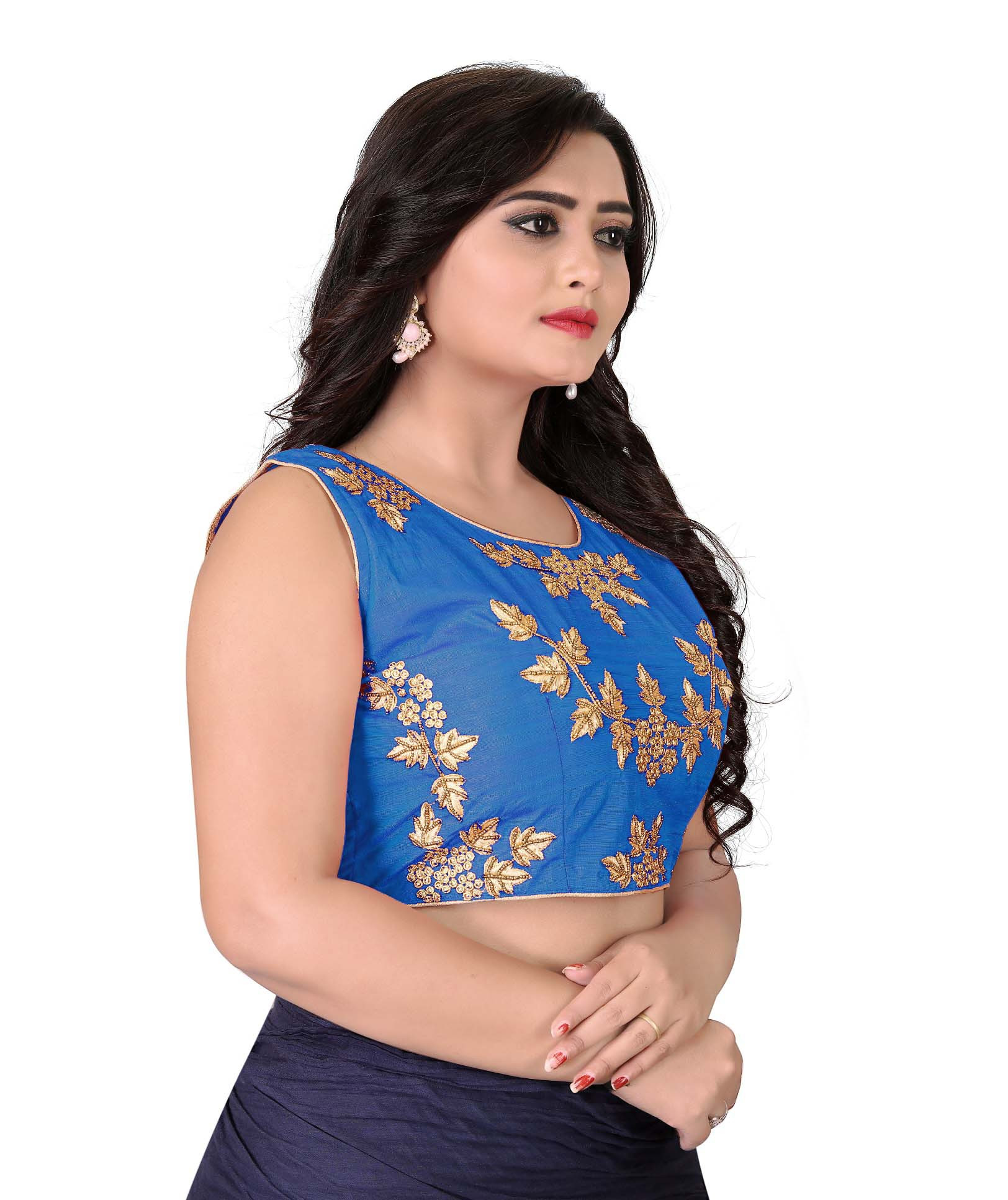 Women Blue Color Roun Neck Stitched Blouse