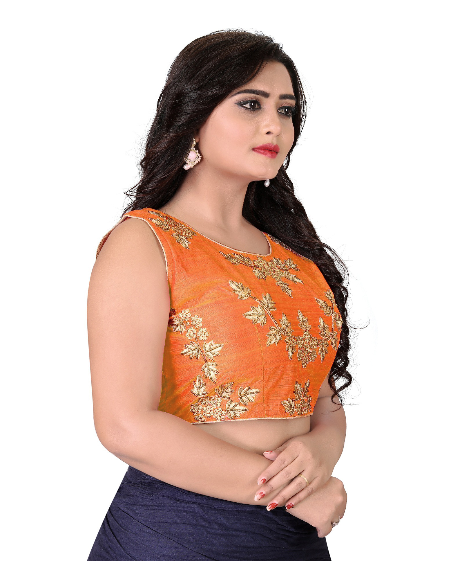 Women Orange Color Roun Neck Stitched Blouse