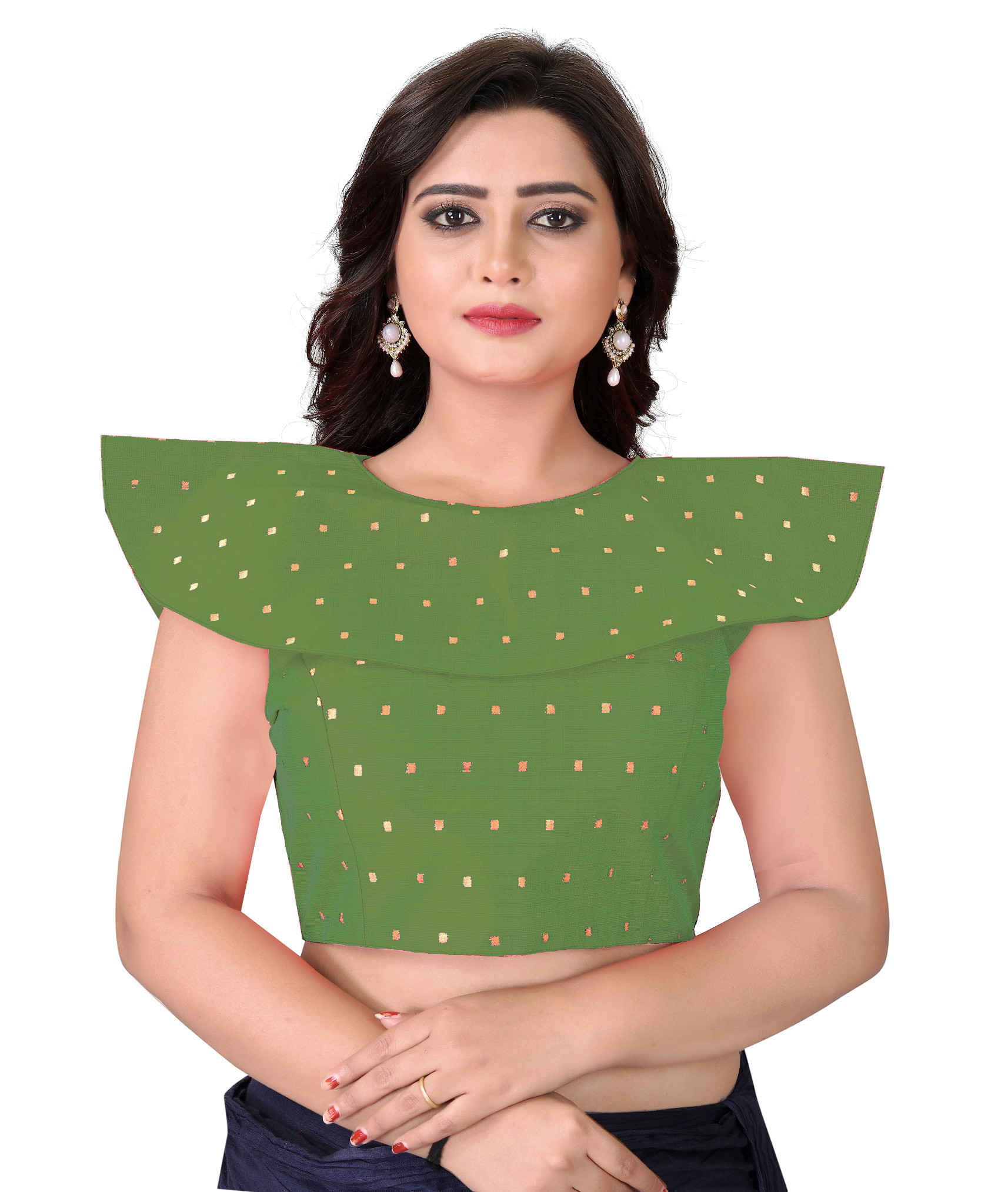 Green Color Stitched Party Wear Styles Blouse