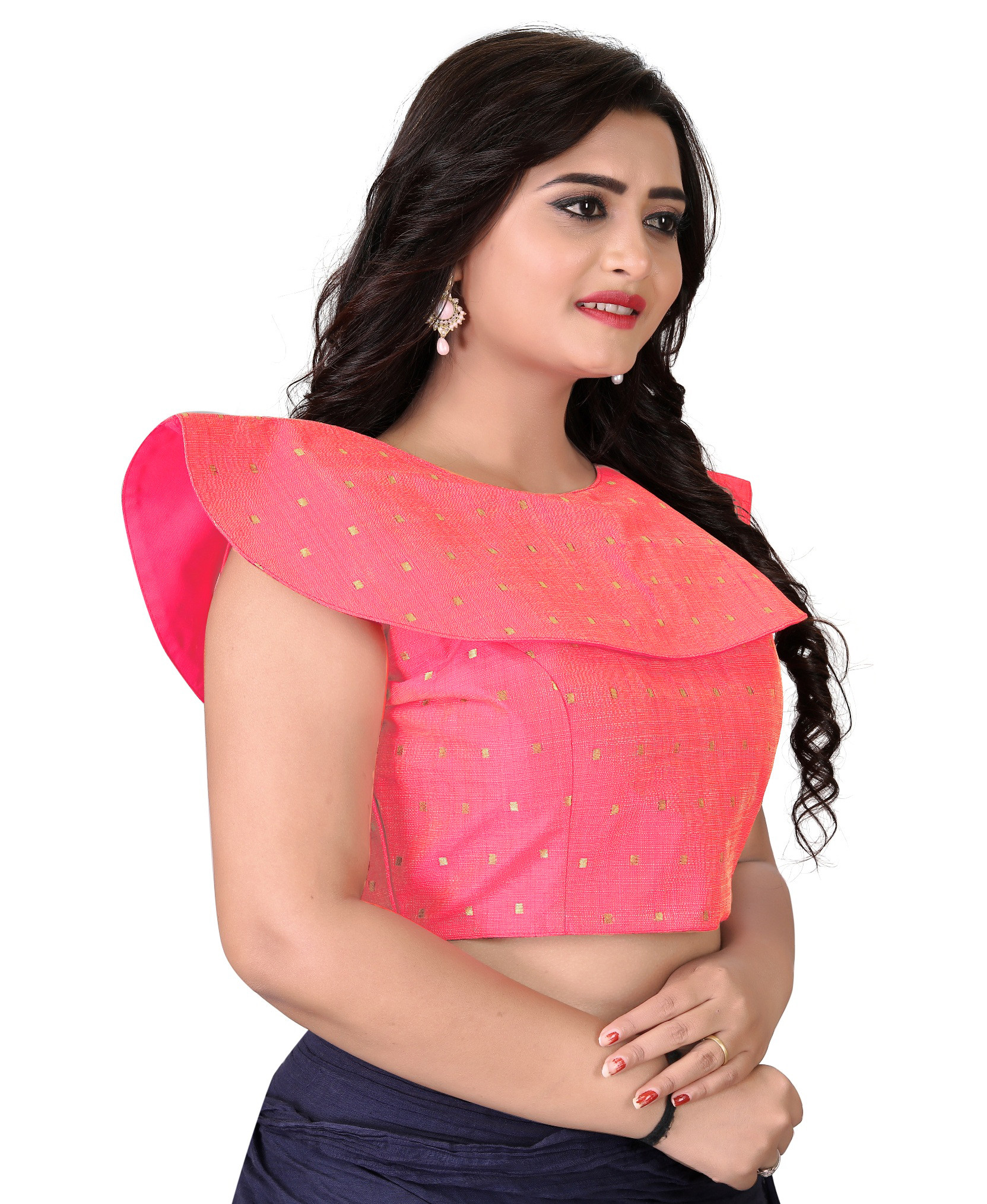 Peach Color Stitched Party Wear Blouse