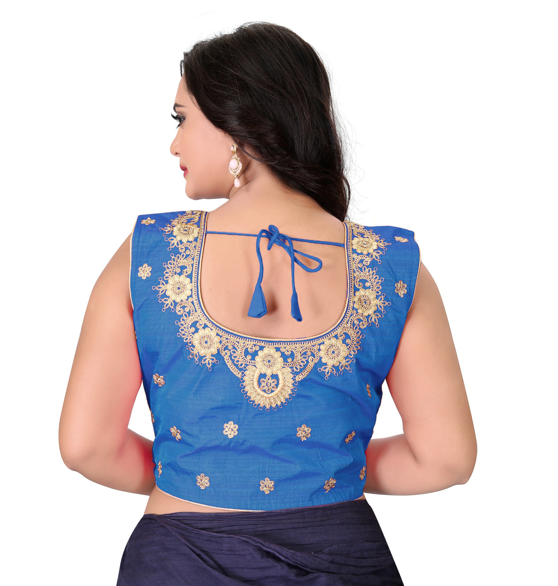 Light Blue Color Silk Embroidery Round Neck Blouse