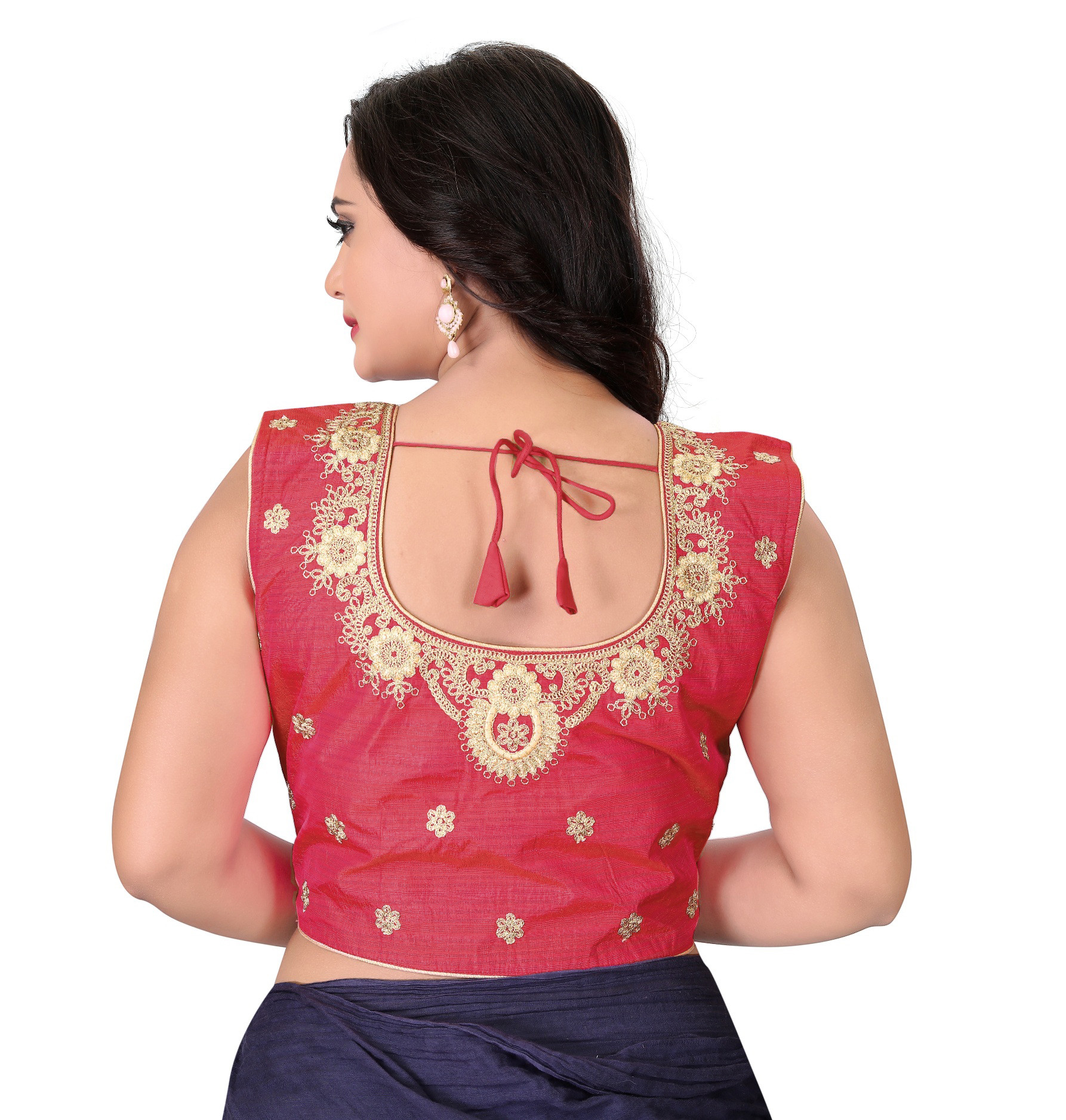 Peach Color Silk Embroidery Roun Neck Blouse