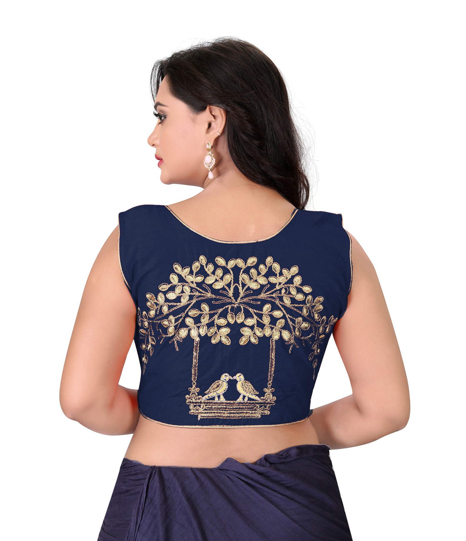 Latest Navy Blue Color Front Zipper Stitched Wedding Blouse