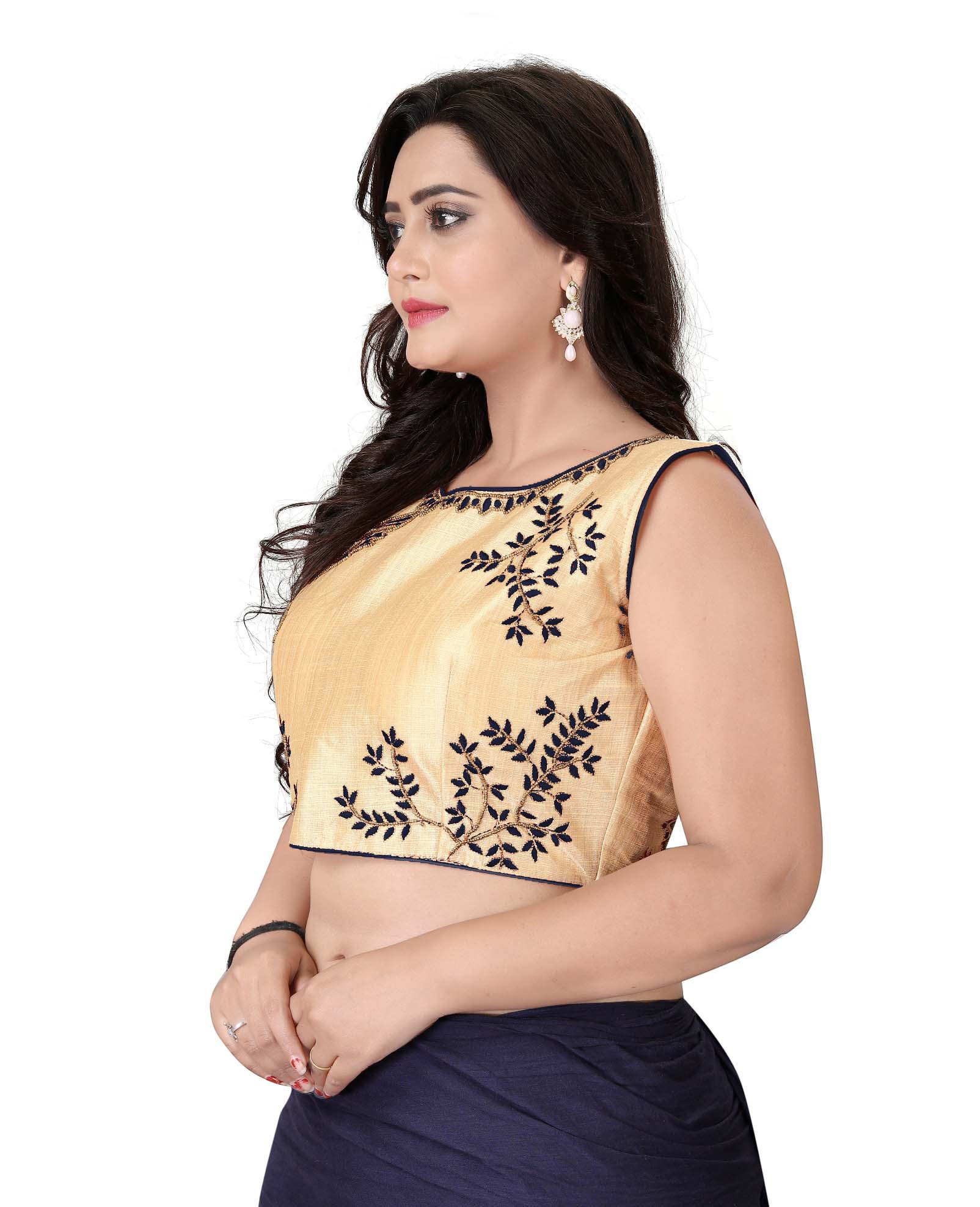 Women's Gold And Black Color Boat Neck Stitched Party Wear Blouse