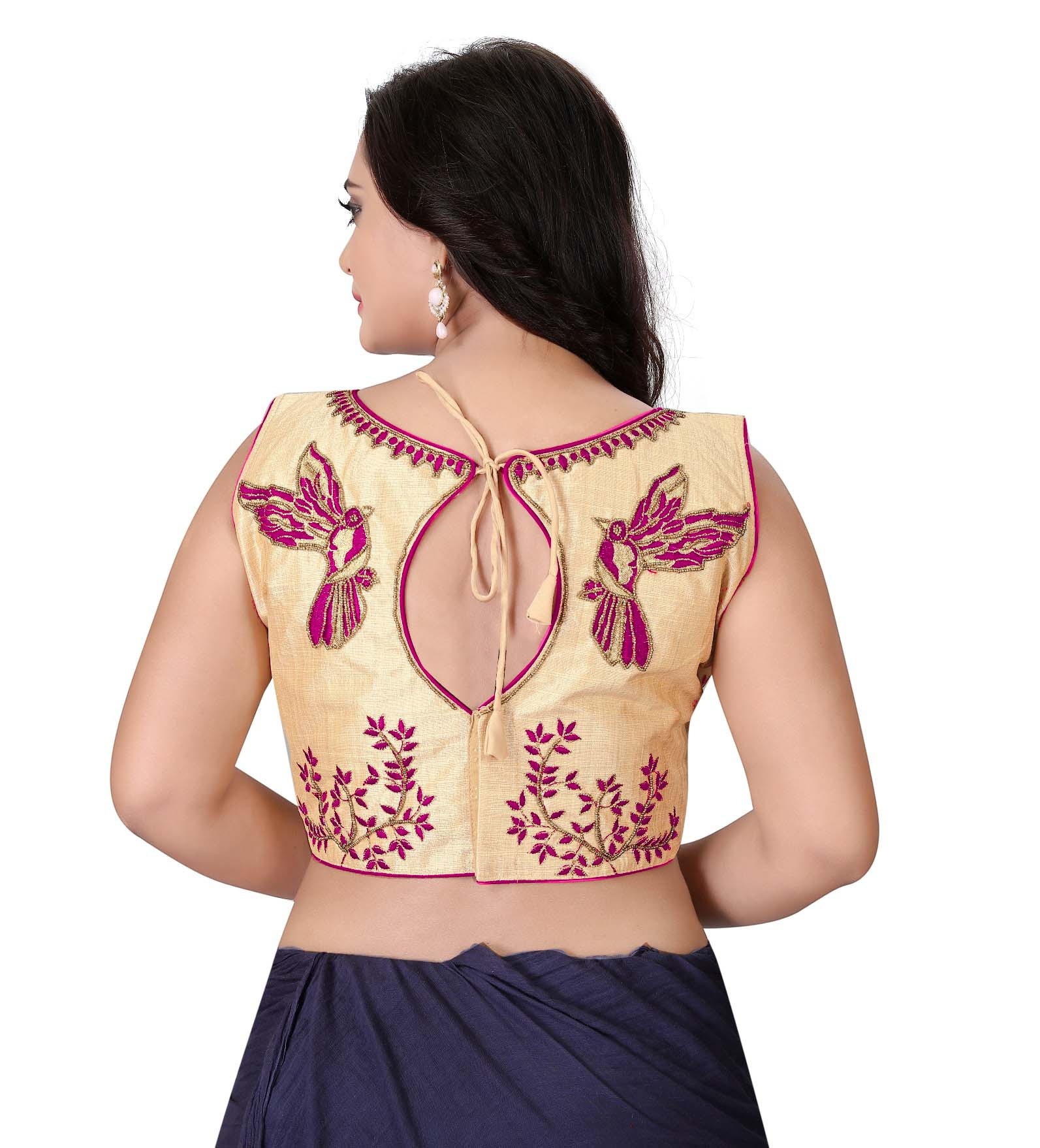 Women's Gold And Pink Color Boat Neck Stitched Party Wear Blouse