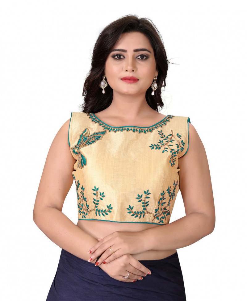 Women's Gold And Green Color Boat Neck Stitched Party Wear Blouse