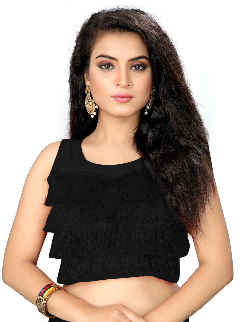 Black Color Silk Embroidery Solid Ruffle Saree Blouse