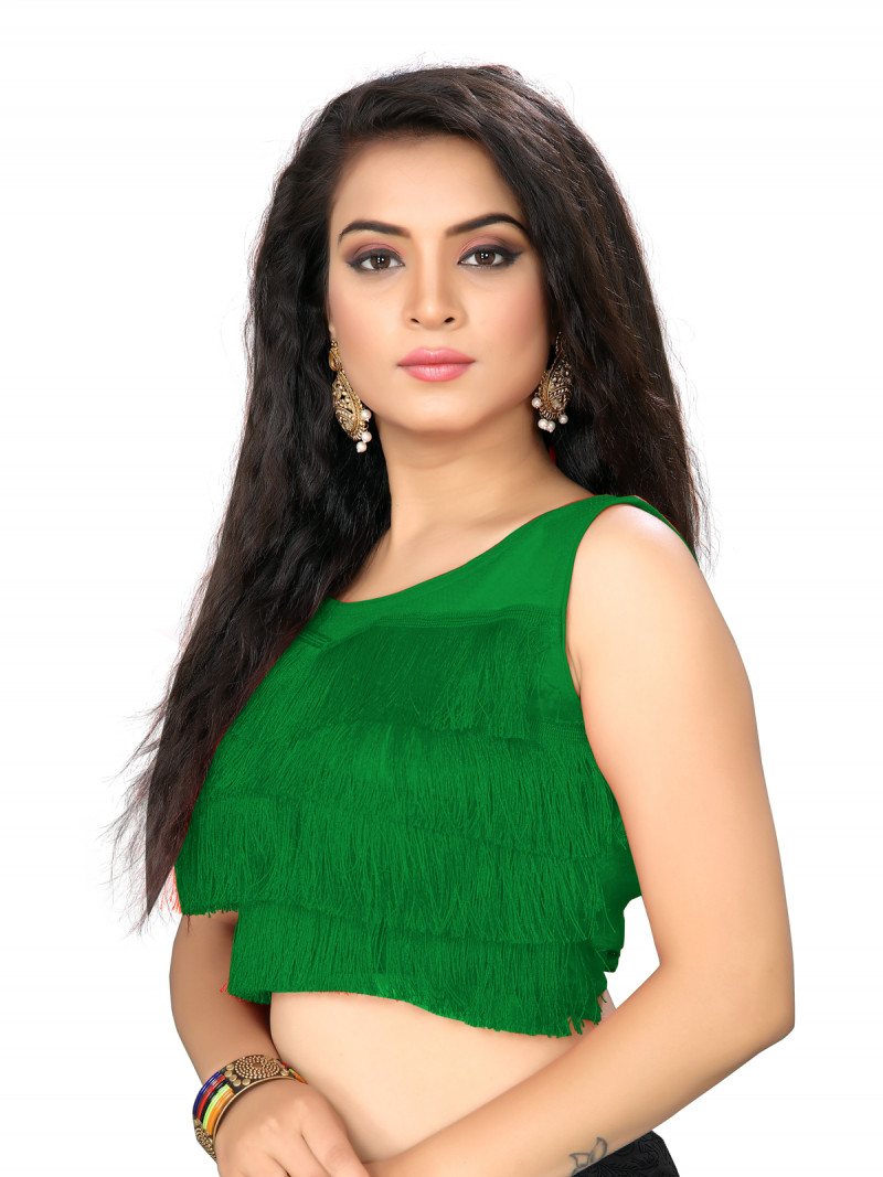 Green Color Silk Embroidery Solid Ruffle Blouse