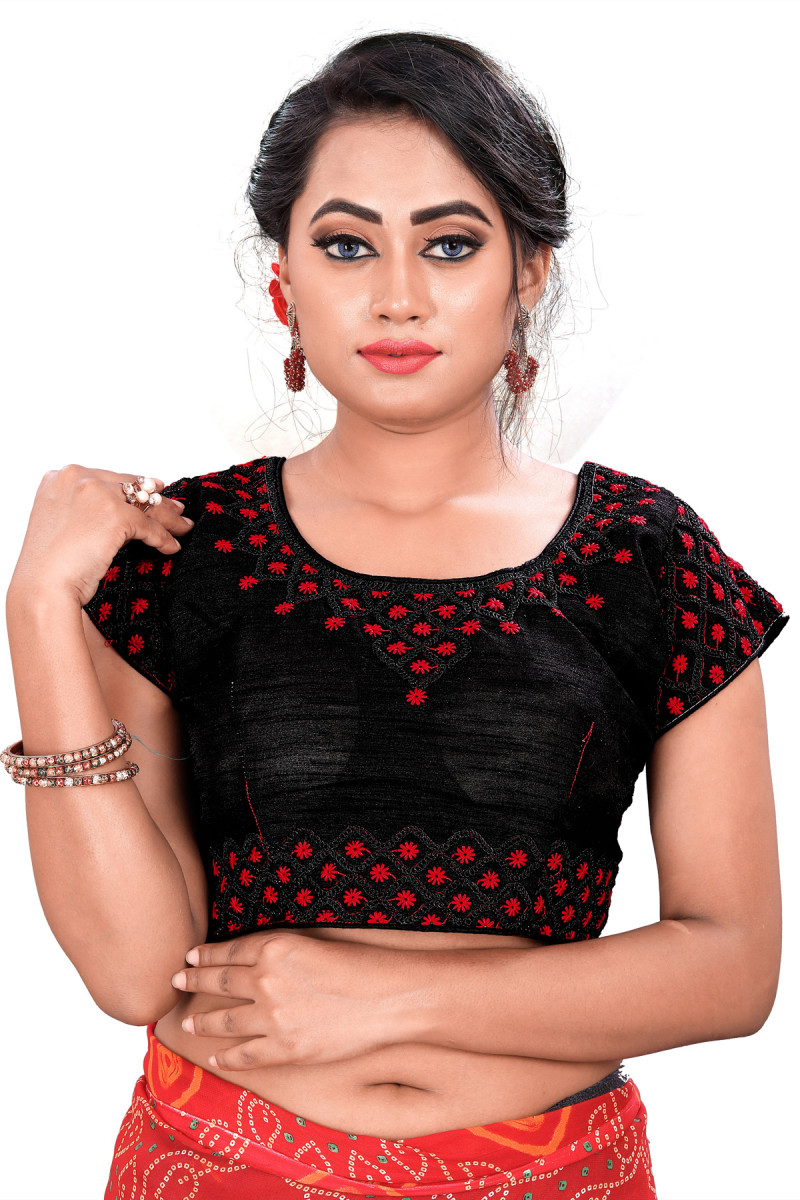Black And Red Color Party Wear Blouse