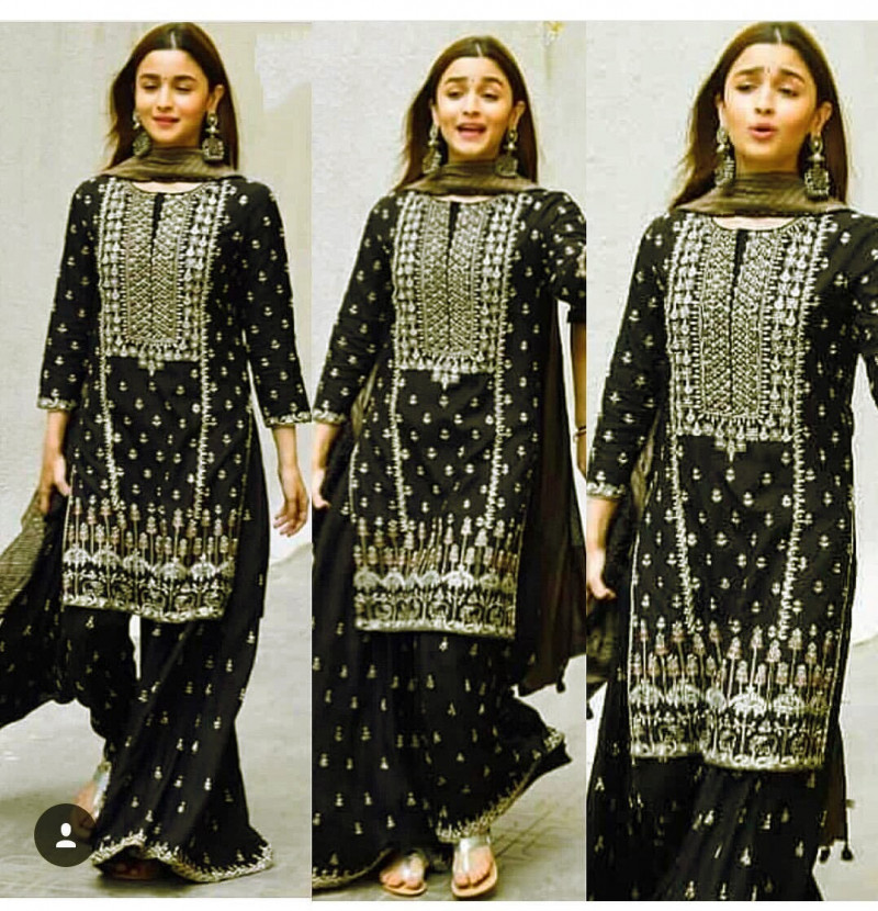 Alia Bhatt Georgette Black Color Embroidery Party Wear Palazzo Suit