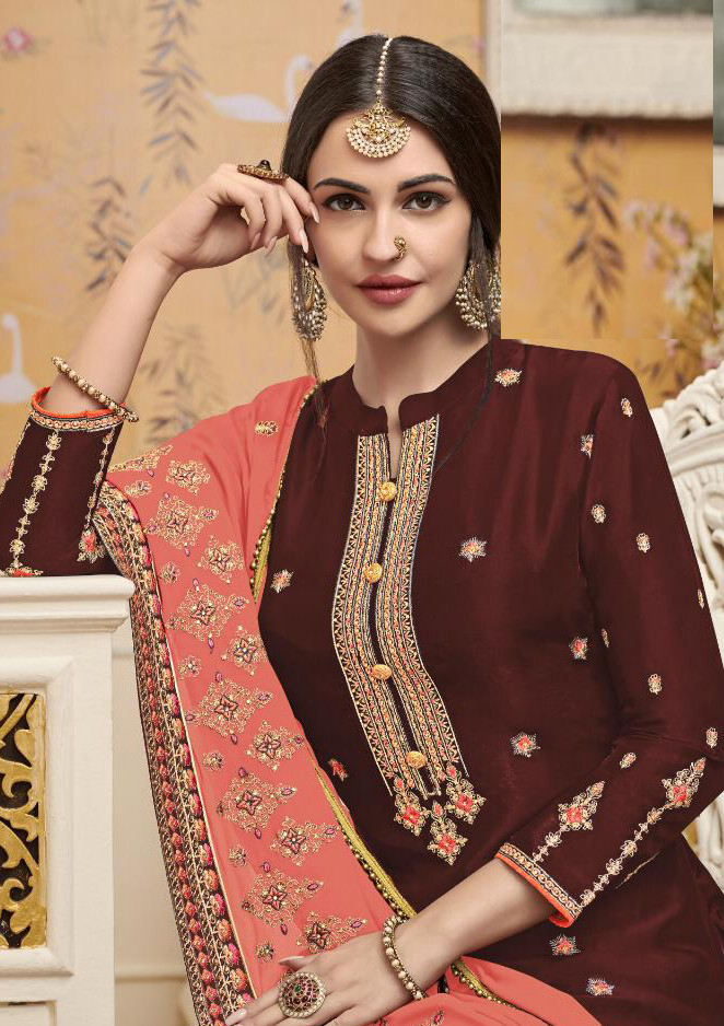 Glowing Fancy Maroon Color Designer With Embroidery \Sharara Suit
