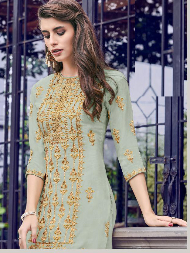 Dazzling With Embroidery Collection Sky Blue Color Sharara Suit