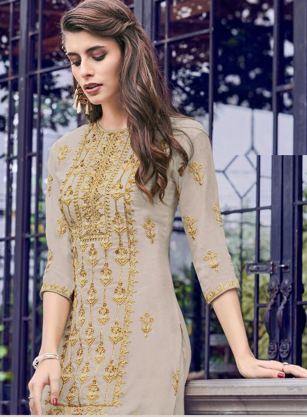 Jazzy Fancy Designer Grey Color Sharara Suit