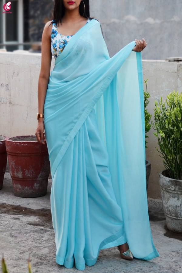 Contemporary Blue Color Satin Saree with Digital Printed Blouse