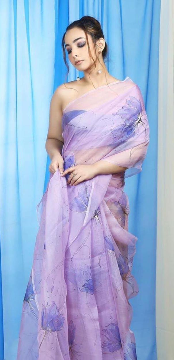 Charming Mauve Color Satin Saree with Digital Printed Blouse