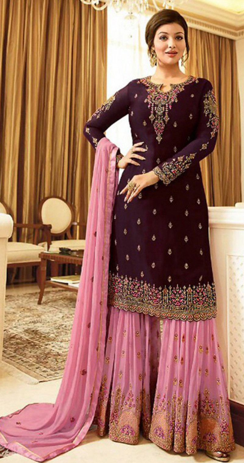 Latest Wine Color With Embroidery Sharara Suit