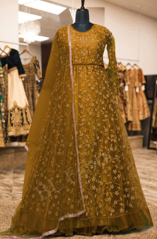 Arresting Golden Color With Embroidery Anarkali Suit