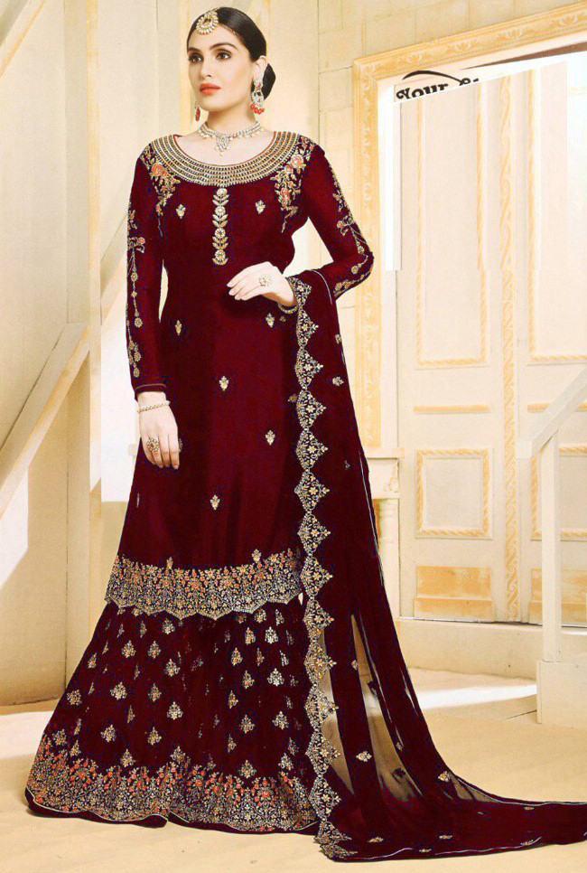 Dazzling Fancy Maroon Color With Embroidery Sharara Suit