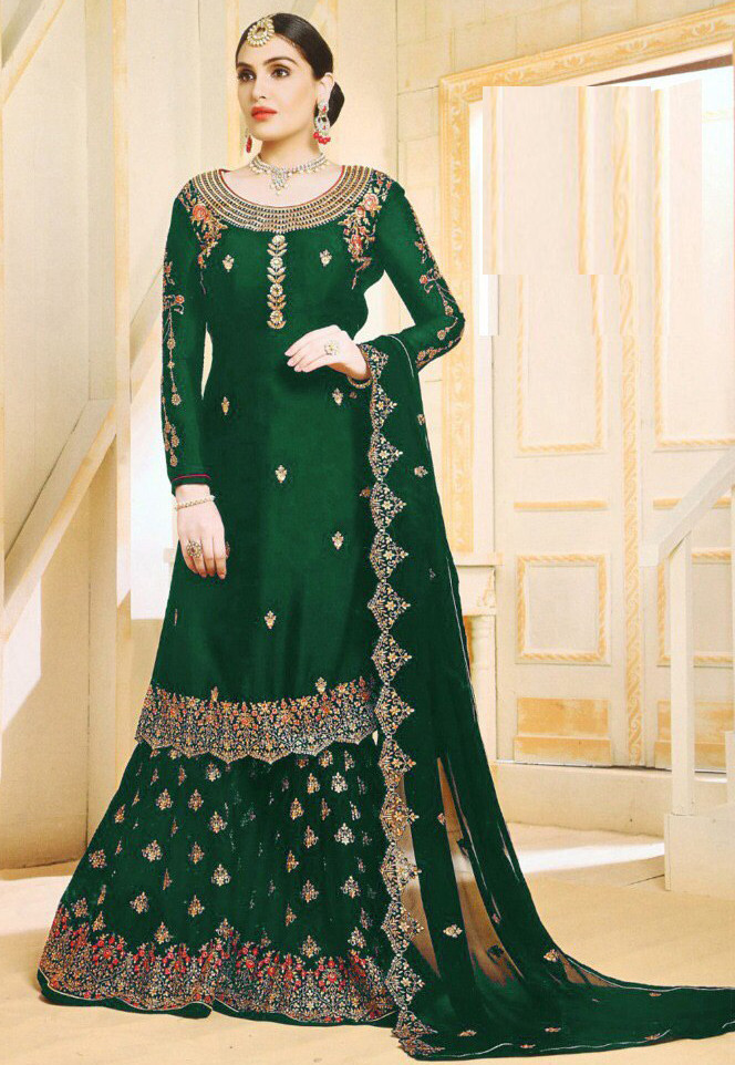 Charming Green  Color With Embroidery Sharara Suit