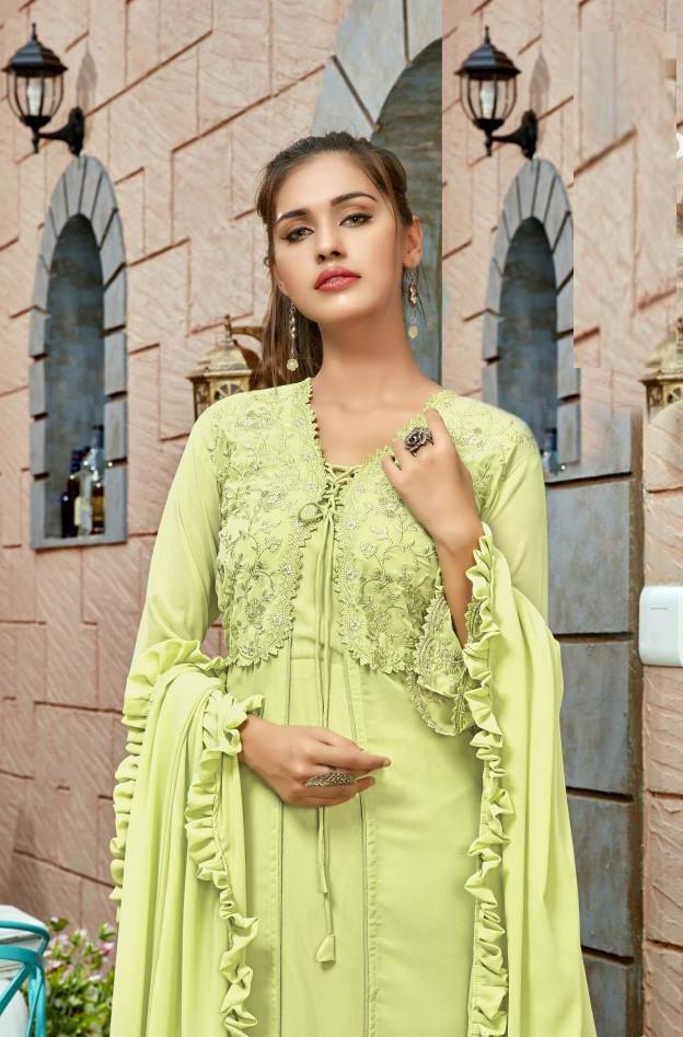 Adorable Designer Neon Green Color Gown