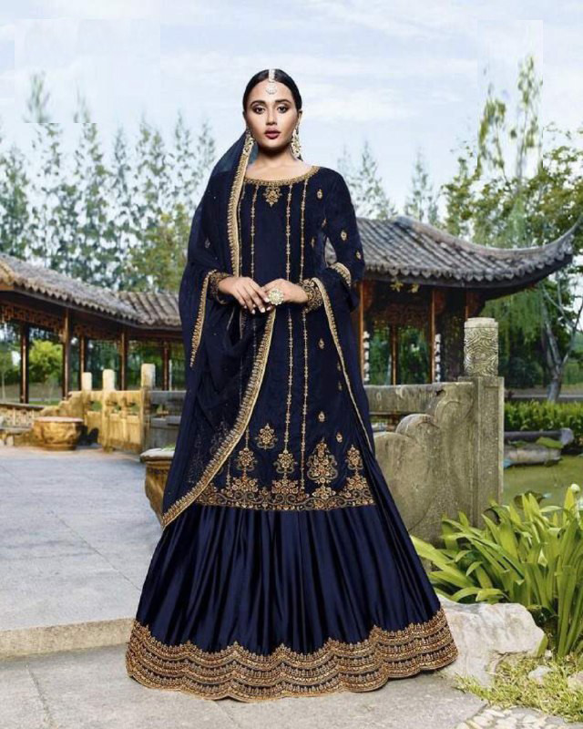 Blue Color With Embroidery Sharara Suiit