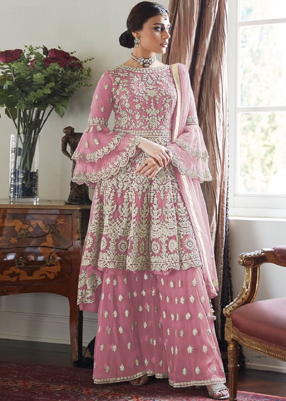 Fancy Designer Pink Color With Embroidery Sharara Suit