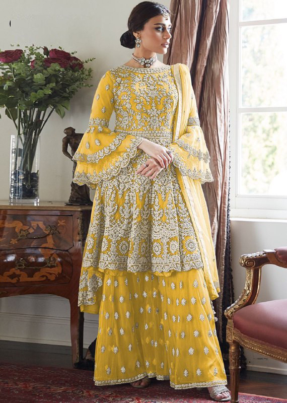 Radiant Yellow Color With Embroidery Sharara Suit