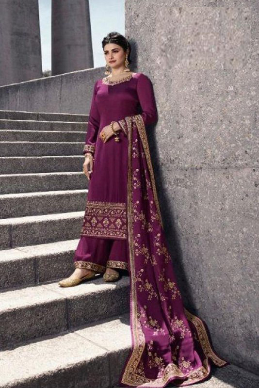 Indian Style Prachi Desai Wine Color Salwar Suit