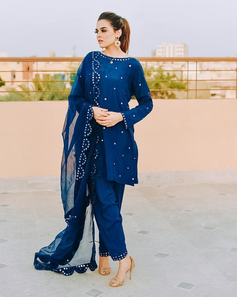 Demanding Blue Color Fancy Salwar Suit