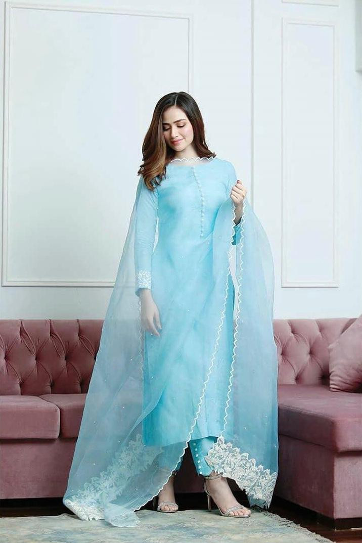 Prominent Light Blue Color Salwar Suit