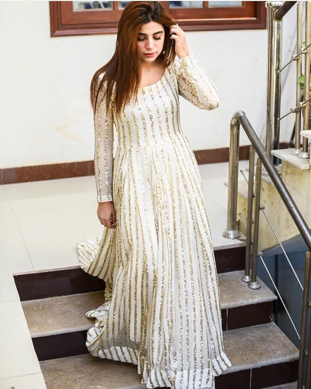 Impressive Fancy White Color With Embroidery Work Gown