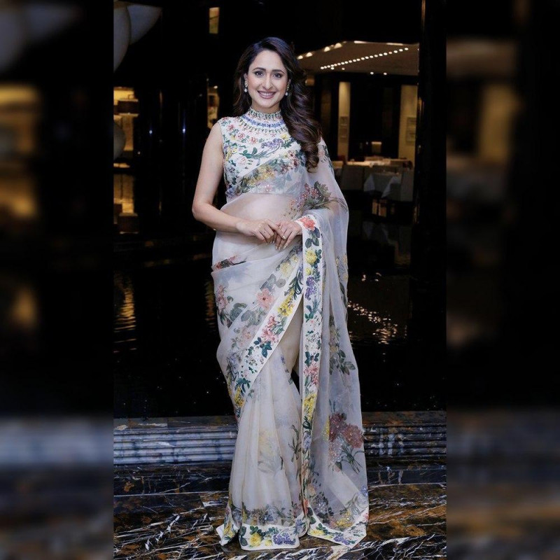 Bollywood Style  Off White Colot Printed Saree