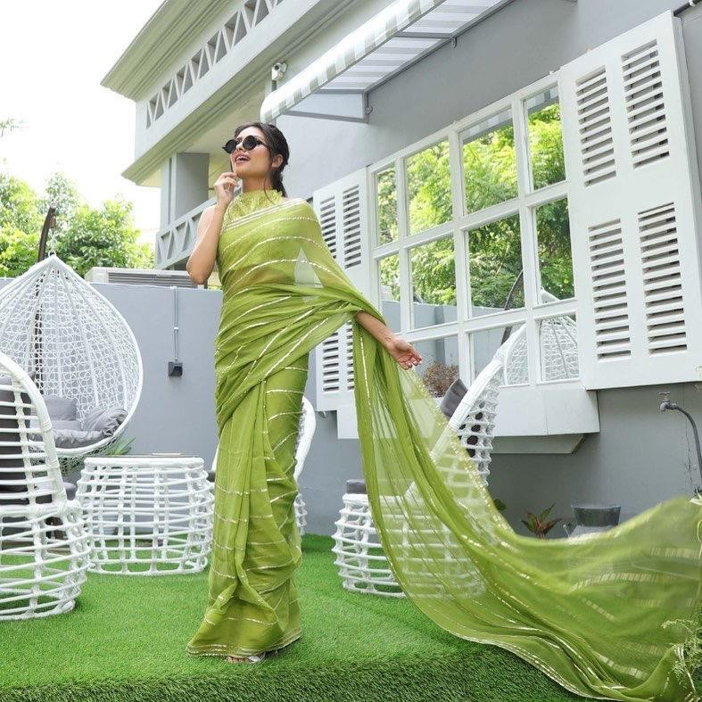 Havey Green Color Embroidery Work Saree