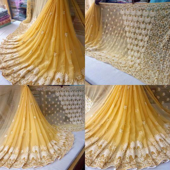Demanding Yellow Color Party Wear Saree