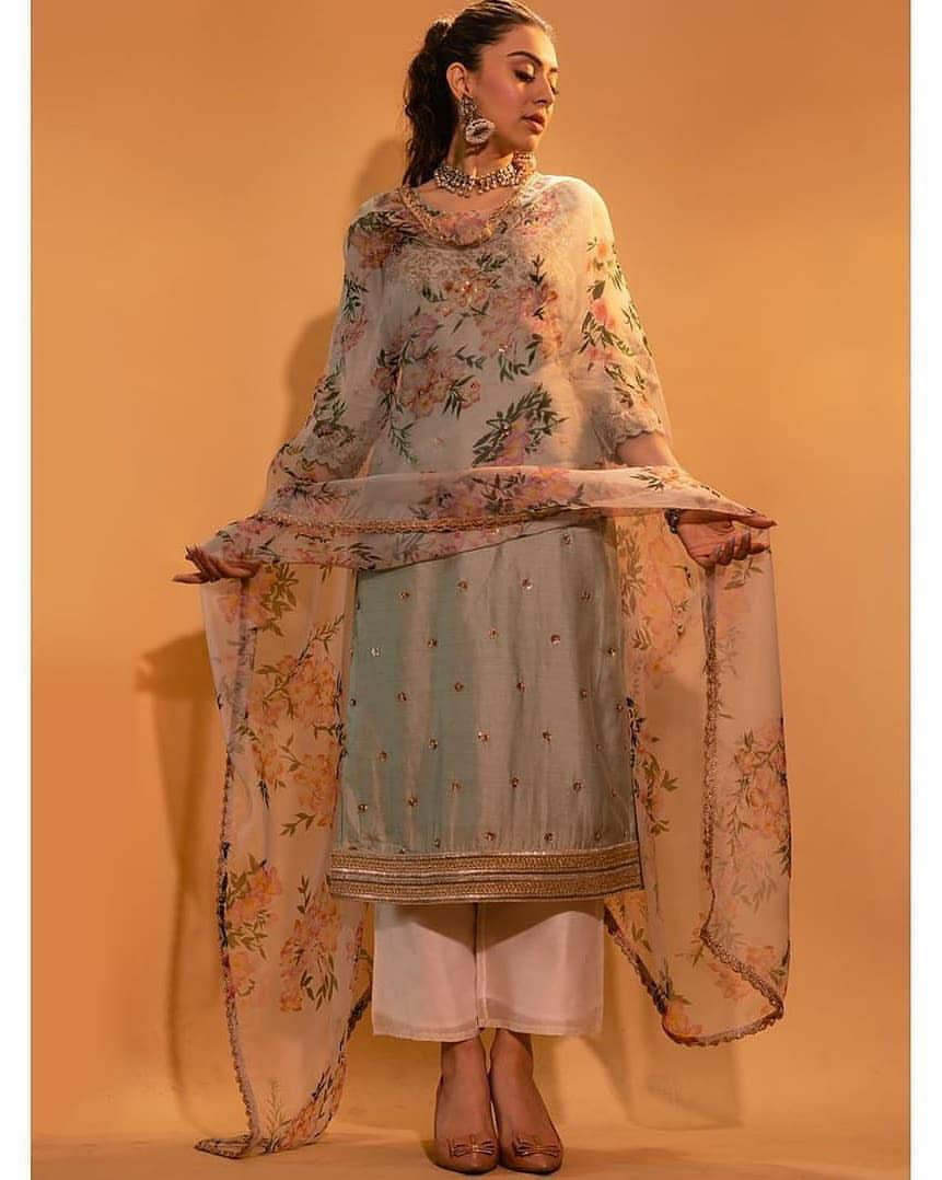Designer Georgette Top Pista With Fully Embroidered Stitch Plazzo Set