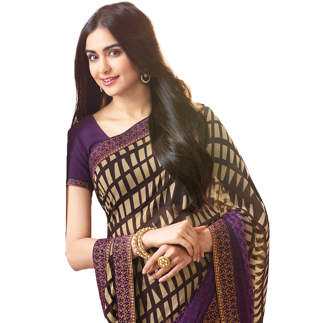 Designer Purple Color Georgette Saree