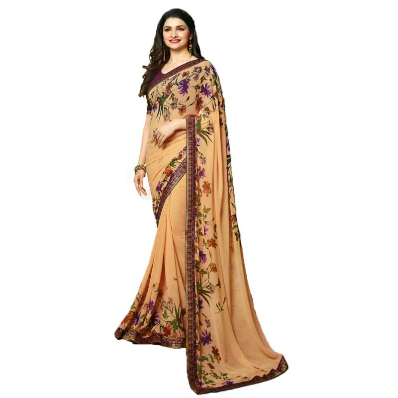 Prachi Desai Beige Color Festive Wear Printed Saree