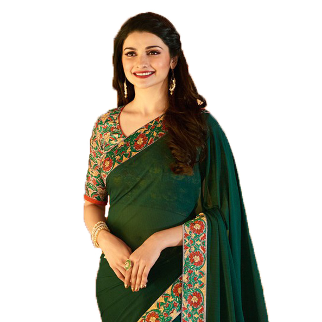 Green Color Party Wear Printed Saree And Blouse
