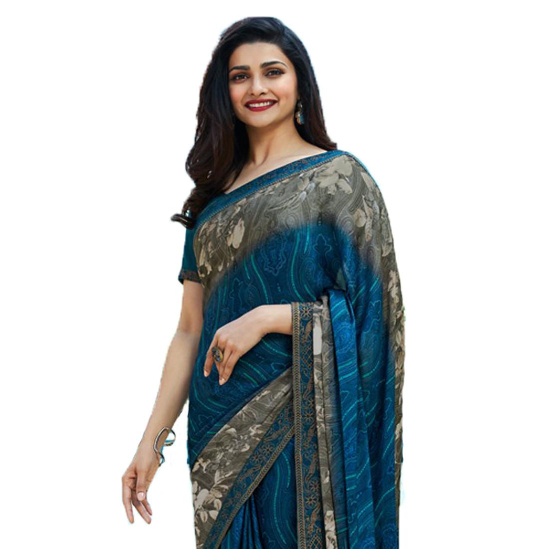 Prachi Desai Blue Color Festive Wear Printed Saree