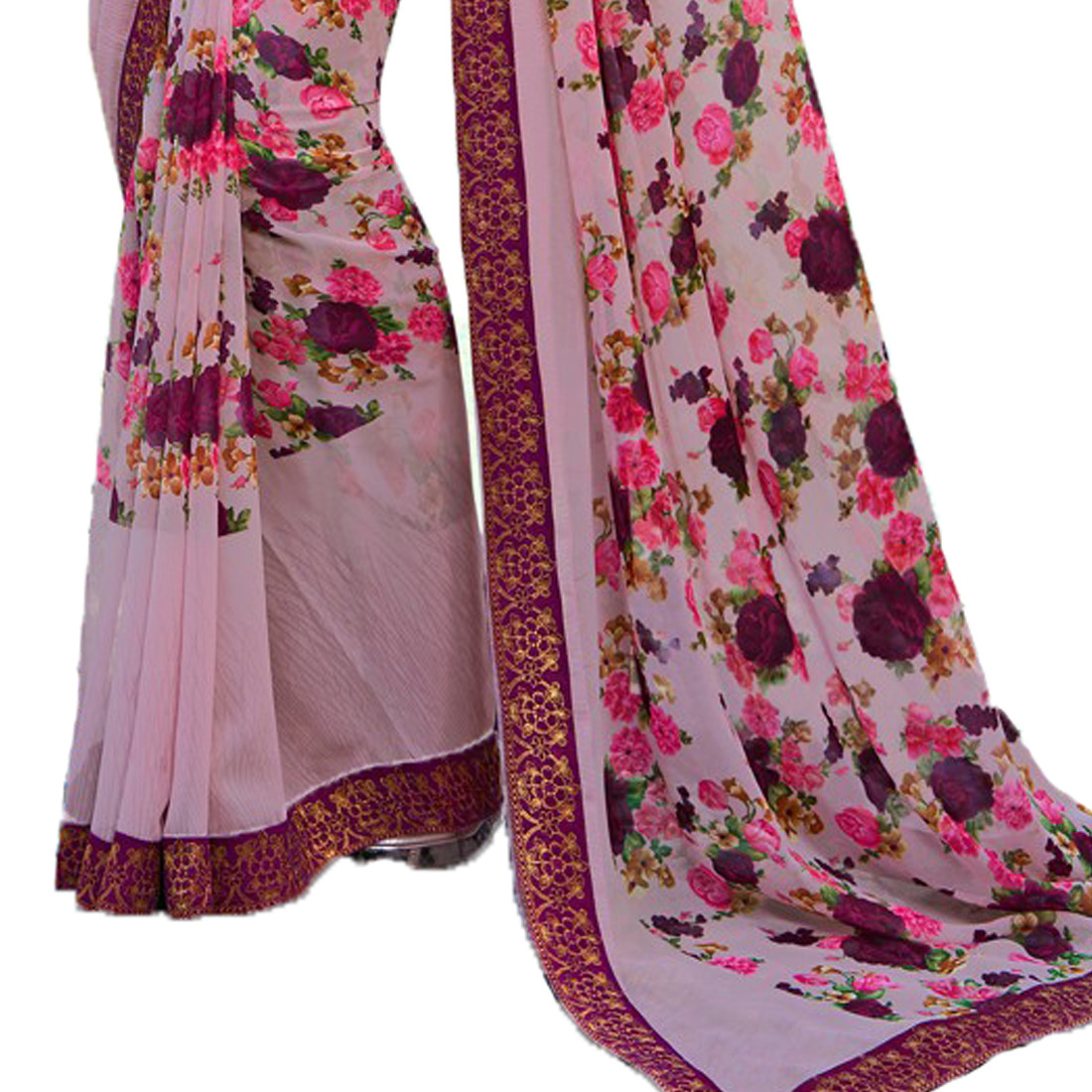 Georgette Rose Color Printed Saree