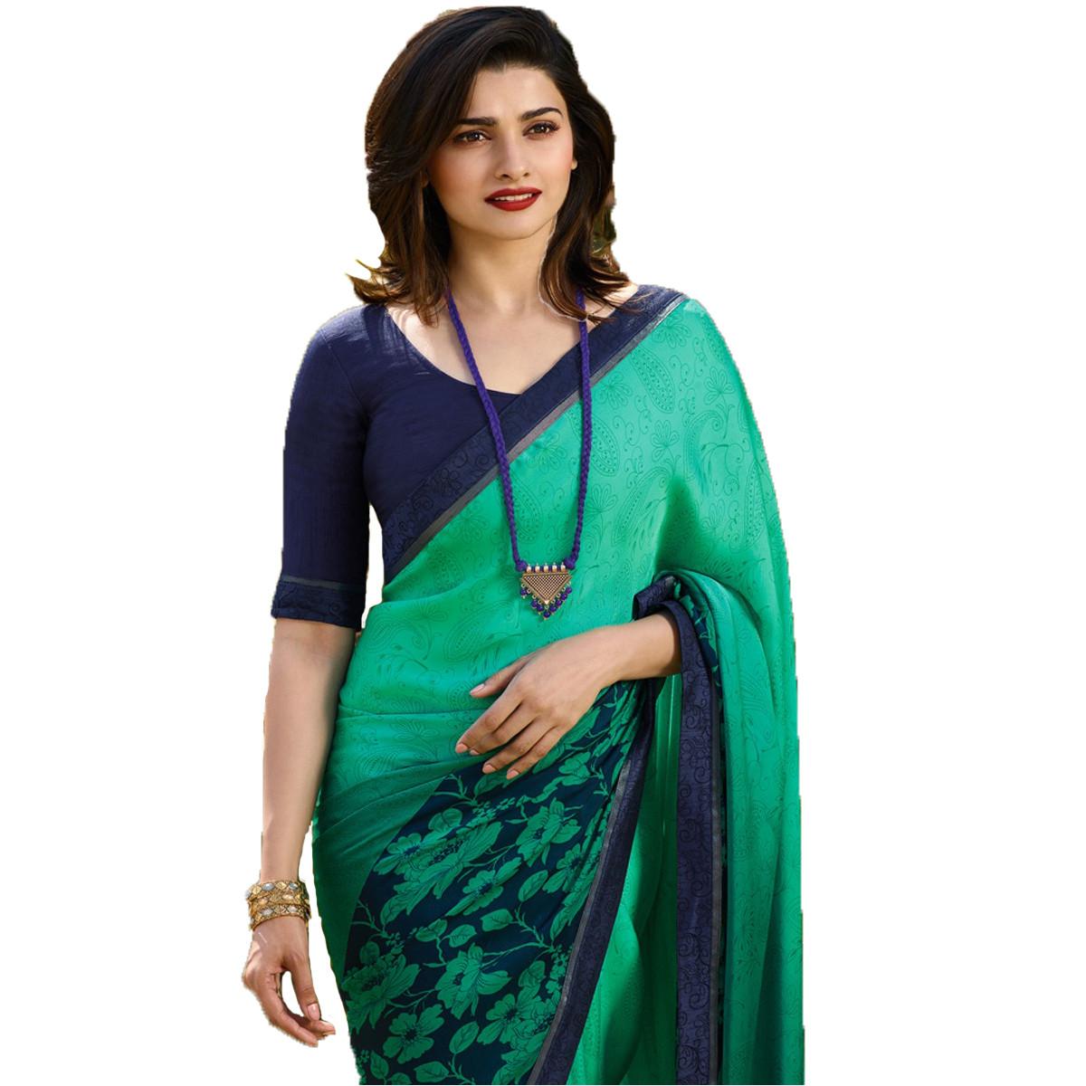 Prachi Desai  See Green Color Printed Saree