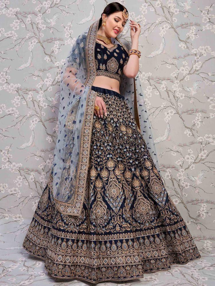 Black  Color Heavy Embroidery Work Lehenga Choli