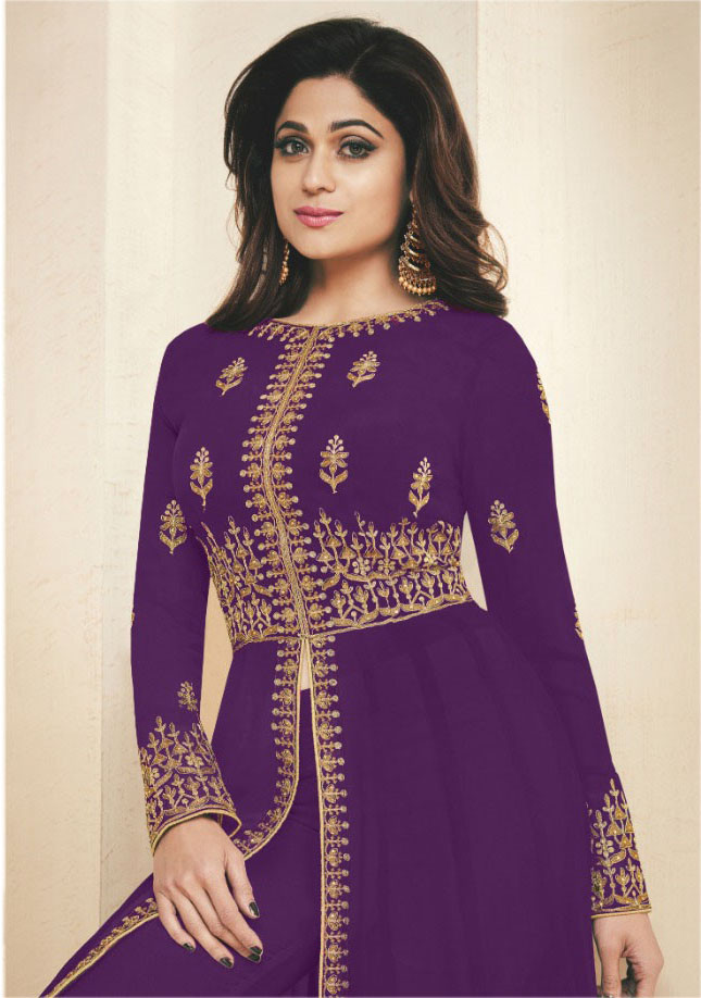 purple Color Georgette  With Heavy  Embroidery Workparty Wear Suit