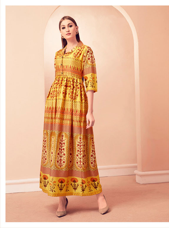 Party Wear Yellow Color Printed Gown